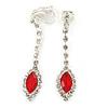 Red/ Clear Crystal Teardrop Clip On Earrings In Silver Tone - 43mm L