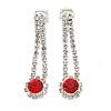 Delicate Red/ Clear Crystal Teardrop Clip On Earrings In Silver Tone Metal - 40mm L