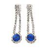 Delicate Sapphire Blue/ Clear Crystal Teardrop Clip On Earrings In Silver Tone Metal - 40mm L