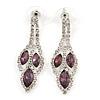 Purple/ Clear Crystal Leaf Drop Earrings In Silver Tone - 42mm L