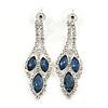 Midnight Blue/ Clear Crystal Leaf Drop Earrings In Silver Tone - 42mm L