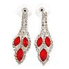 Red/ Clear Crystal Leaf Drop Earrings In Silver Tone - 42mm L