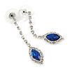 Sapphire Blue/ Clear Crystal Teardrop Earrings In Silver Tone - 45mm L
