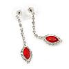Red/ Clear Crystal Teardrop Earrings In Silver Tone - 45mm L