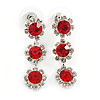 Delicate Red/ Clear Floral Drop Earrings In Silver Tone - 35mm L