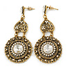 Vintage Inspired Chandelier Clear Crystal Filigree Drop Earrings In Aged Gold Tone - 65mm L