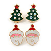 Set of 2 Red/ White/ Green Enamel Christmas Tree/ Christmas Santa Claus Stud Earrings In Gold Plating - 20mm L