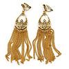 Gold Tone Long Chain Chandelier Clip On Earrings - 90mm L