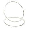 10.5cm Oversized Slim Clear Crystal Hoop Earrings In Silver Tone