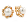 Gold Tone White Faux Pearl Floral Clip On Earrings - 20mm D