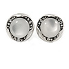 15mm Button Shape Crystal, Glass Stone Clip On Earrings In Silver Tone Metal