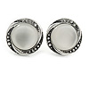 Vintage Inspired Button Shape Clip On Earrings In Aged Silver Tone Metal - 22mm D