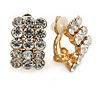 Small C Shape Clear Crystal Clip On Earrings In Gold Tone - 17mm L