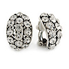 C Shape Clear Crystal Clip On Earrings In Silver Tone Metal - 23mm L