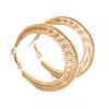 50mm Coil Spring Hoop Earrings In Gold Tone