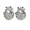 Vintage Inspired Milky White Glass Teardrop with Butterfly Motif Clip On Earrings In Silver Tone - 20mm L