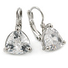 Thrillion Cut Clear CZ Drop Earrings In Rhodium Plating with Leverback Closure - 20mm L