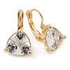 Thrillion Cut Clear CZ Drop Earrings In Gold Plating with Leverback Closure - 20mm L