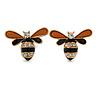 Brown/ Black Enamel Crystal Bee Stud Earrings In Gold Tone - 23mm Wide