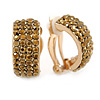C-Shape Bronze Gold Crystal Clip-on Earrings In Gold Plating - 20mm L