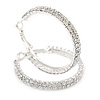 40mm Two Row Clear Crystal Hoop Earrings In Rhodium Plated Alloy
