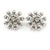 Clear Crystal Snowflake Stud Earrings In Silver Tone Metal - 20mm D