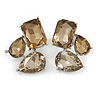 Geometric Faceted Glass Stone Stud Earrings In Silver Tone (Light Grey/ Champagne) - 37mm L