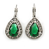 Classic Green/ Clear Cz Teardrop Earrings With Leverback Closure In Silver Plating - 25mm L