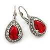 Classic Red/ Clear Cz Teardrop Earrings With Leverback Closure In Silver Plating - 25mm L