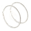 65mm Slim Clear Crystal Hoop Earrings In Rhodium Plated Alloy