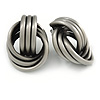 Large Knot Clip On Earrings In Pewter Tone Metal - 40mm L