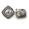 Vintage Inspired Square Shape with Hammered Detailing Clip On Earrings In Aged Silver Tone - 20mm