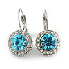Round Cut Sky Blue Glass/ Clear Crystal Drop Earrings With Leverback Closure In Rhodium Plated Metal - 27mm L