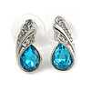 Small Azure Blue, Clear Crystal Teardrop Stud Earrings In Silver Tone Metal - 18mm Tall