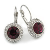 Round Cut Purple Glass/ Clear Crystal Drop Earrings With Leverback Closure In Rhodium Plated Metal - 27mm L