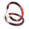 37mm Medium Acrylic/ Plastic Hoop Earrings (Purple/ Pink/ Black)
