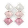 Trendy Pastel Pink Triple Square Drop Earrings In Silver Tone - 50mm L