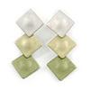 Trendy Pastel Green Triple Square Drop Earrings In Silver Tone - 50mm L