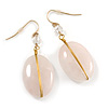 Vintage Inspired Rose Quarz Oval Drop Earrings with Gold Tone Wire - 50mm L