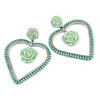 Statement Mint Green Acrylic Open Heart, Rose Drop Earrings In Silver Tone - 70mm L
