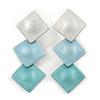 Trendy Pastel Blue Triple Square Drop Earrings In Silver Tone - 50mm L