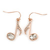 Rose Gold Tone Clear Crystal Musical Note Drop Earrings - 35mm L