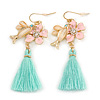 Romantic Pink Enamel Daisy, Bird, Mint Tassel Drop Earrings In Gold Tone - 60mm L
