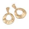 Gold Tone Hammered Teardrop Earrings - 50mm L