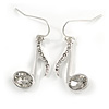 Silver Tone Clear Crystal Musical Note Drop Earrings - 35mm L