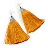 Long Yellow Gold Cotton Tassel Earring In Silver Tone - 10cm Long