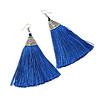 Long Blue Cotton Tassel Earring In Silver Tone - 10cm Long