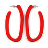Trendy Red Acrylic/ Plastic/ Resin Oval Hoop Earrings - 60mm L
