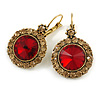 Vintage Inspired Round Cut Topaz/ Red Glass Stone Drop Earrings With Leverback Closure In Antique Gold Metal - 40mm L