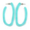 Trendy Mint Acrylic/ Plastic/ Resin Oval Hoop Earrings - 60mm L